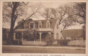 The John Page Or Audrey House Williamsburg Virginia Albertype