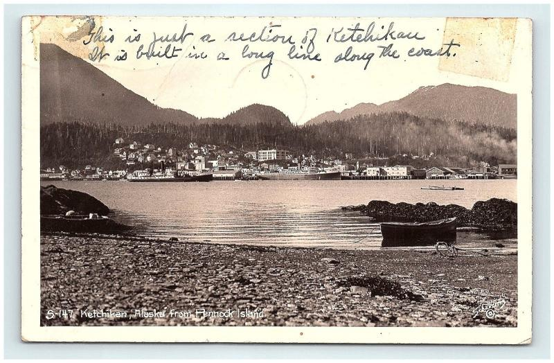 Postcard AK Ketchikan View from Pennock Island RPPC Real Photo c1930s G15
