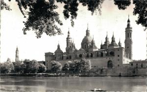 Spain - Zaragoza Templo del Pilar y Rio Ebro RPPC 01.77