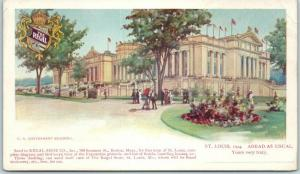 1904 St. Louis World's Fair Postcard U.S. GOV'T BUILDING Regal Shoe Advertising