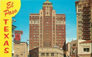 El Paso Texas Plaza Hotel Petley roadside Postcard 20-12763