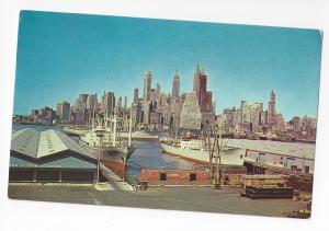 New York Manhattan Skyline East River Ship Docks Postcard