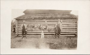Two Bird Hunters & A Dog Guns Shotguns Unused Real Photo Postcard E65