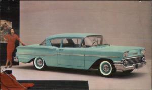 1958 Chevy Chevrolet Delray 2 Door Sedan in Glen Green Promo Postcard