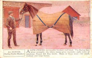 Horse Blanket Advertising Old Vintage Antique Post Card Buster Burlap Stable ...