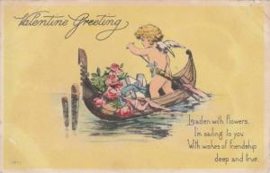 Valentine Greeting, Cupid rowing boat carrying roses and gifts, 00-10s