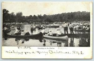 Boston Massachusetts~Crowd Canoeing on the Charles River~c1905 B&W Postcard