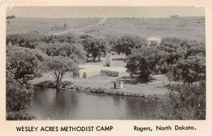 LPS57 Rogers North Dakota Wesley Acres Methodist Camp Aerial View Postcard RPPC