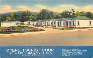 Bryson City North Carolina~Myers Tourist Court~1940s Linen Roadside Motel