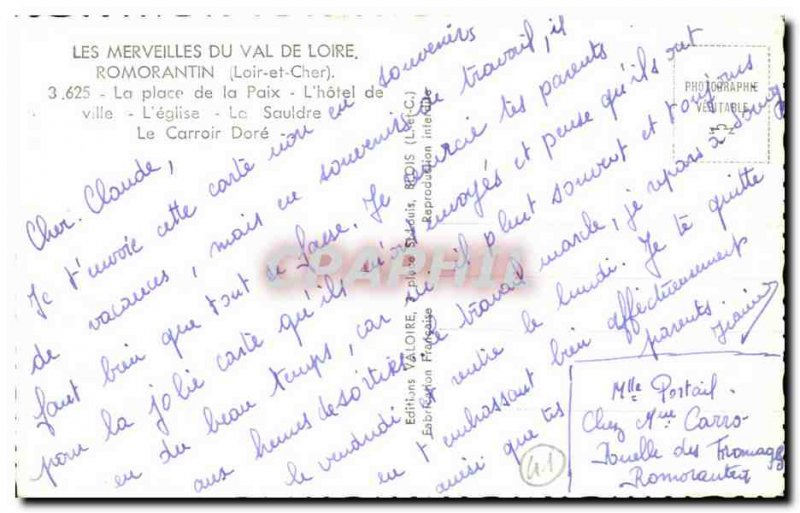 Postcard Modern Wonders From the Loire Valley Romorantin Place of Peace L & #...