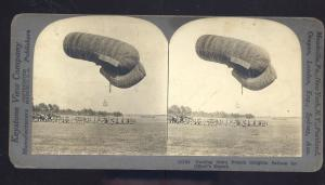 REAL PHOTO FRENCH MILITARY DIRIGIBLE BALLOON VINTAGE STEREOVIEW CARD