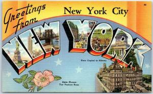 New York City NEW YORK Large Letter Postcard State Capitol Flower Acacia Linen