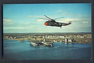 Quonset Point, Rhode Island/RI Postcard, Aerial Of Naval Air Station, Helicopter