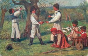 Czech R. folk costumes artist postcard Velikonocni pozdrav greetings