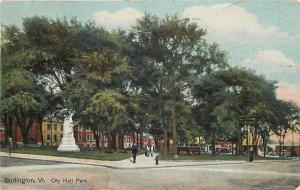 Burlington Vermont~City Hall Park~Monument~Corner View 1910 Postcard