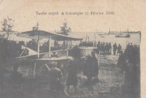 War 1914-18 : Bi-plane , Taube captif a Salonique 11 Fevrier 1916 : Greece