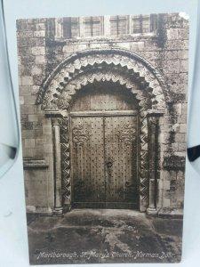 Vintage Antique Friths Postcard St Marys Church Marlborough Norman Door Unposted