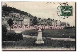 Postcard Old Honfleur on Buillevard Carnal and the Cote de Grace