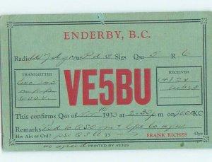 1930s QSL RADIO Enderby In Okanagan By Armstrong & Salmon Arm & Vernon BC AH3228