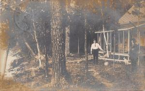 Shell Lake Wisconsin~Ella's Father's Cottage in Woods~Mills & Chauncy~1908 RPPC