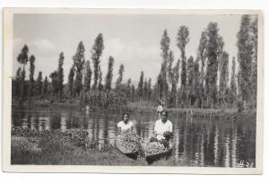 RP Mexico Xochimilco Canoes Flower Vendors Real Photo