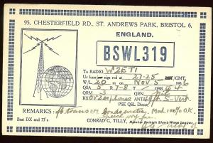 QSL from England BSWL319 to New Jersey W2ETI, 1936
