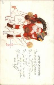 Christmas - Children in Pajamas Dance Around Santa Claus c1920 Postcard