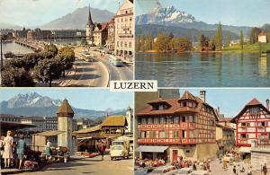 Switzerland Luzern, Street Auto Vintage Cars Bridge Market Place Lake