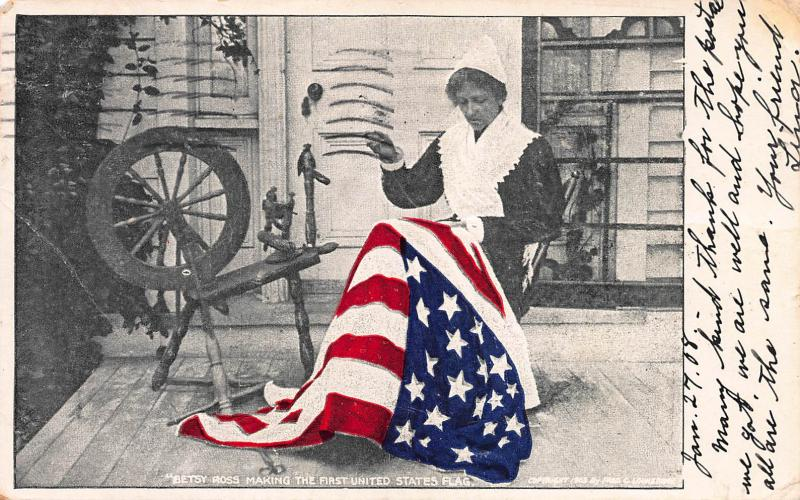 Betsy Ross Making the First United States Flag, Early Postcard, Used in 1908