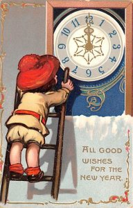 All Good Wishes for the New Year Child on Ladder with Clock 1908