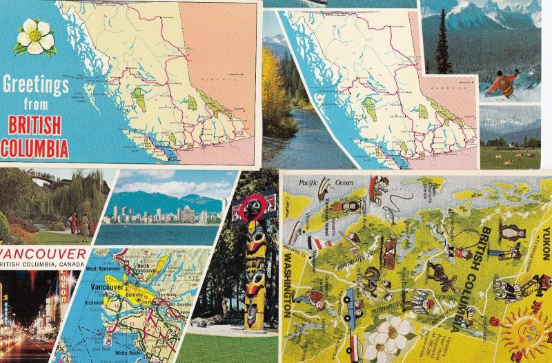 British Columbia Skiing Casinos Totem Pole Map 4x Canada Postcard