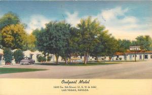 LAS VEGAS, Nevada  NV    OUTPOST MOTEL  Roadside Linen ca 1940s    Postcard