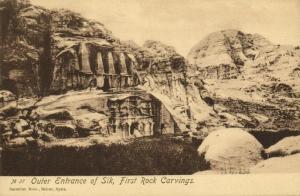 jordan, PETRA, First Rock Carvings, Outer Entrance of Sik (1920s) Sarrafian 27