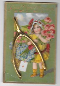 Gold Wishbone Add-On Many Happy Returns Birthday Postcard