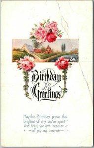 Vintage 1924 BIRTHDAY GREETINGS Embossed Postcard Pink Roses / Country Scene