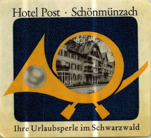 Germany Schoenmuenzach Hotel Post Vintage Luggage Label sk4869