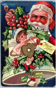 Vintage Christmas Postcard SANTA CLAUS w/ Elf & Gold Heart Ring / Holly 1910