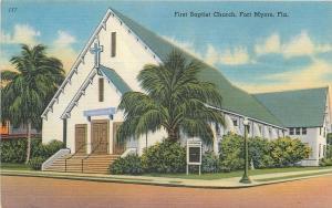 Fort Myers Florida~First Baptist Church~1930's Linen Postcard