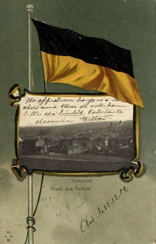 germany, AACHEN, Panorama, Flag Postcard (1902) Stamp