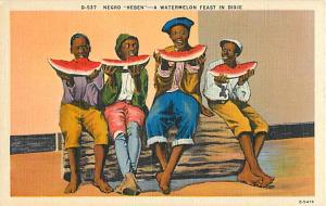 Young Black Boys Watermelon Feast in Dixie, Linen