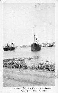 Pugwash Nova Scotia Canada Lumber Boats Real Photo Vintage Postcard AA14477