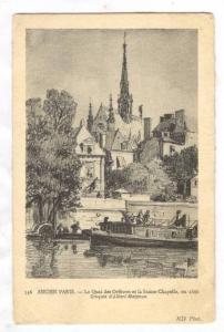 Le Quai Des Orfevres Et La Sainte-Chapelle, En 1866, Croquis d'Albert Maignan...
