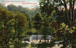 Cedar Rapids, Iowa, IA, The Bears Den, Beaver Park, 1909 Vintage Postcard g847