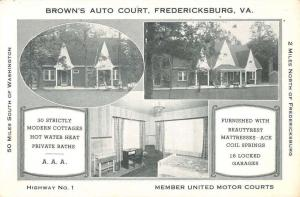 Fredericksburg Virginia Browns Auto Court Multiview Antique Postcard K34733