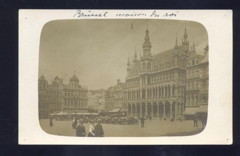 RPPC BRUSSELS BELGIUM DOWNTOWN STREET SCENE VINTAGE REAL PHOTO POSTCARD