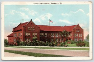 Waukegan Illinois~High School~Flag on Roof~View from Across Street~1923