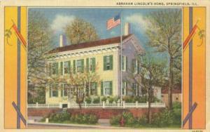 Abraham Lincoln's Home, Springfield, Illinois linen Postcard