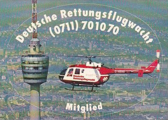 DEUTSCHE RETTUNGSFLUGWACHT HELICOPTER VINTAGE AVIATION LABEL
