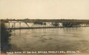 1914 Reedley Fresno California Kings River Bridge Flood RPPC Photo Postcard