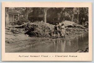 Rutland Vermont~Cleveland Avenue~Girls Walk in 1947 Flood Ruins~Sepia Postcard